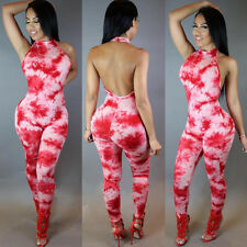 New red tie dye halter neck jumpsuit catsuit club wear party wear size UK 10-12