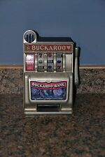 "Antique Vintage Toy Buckaroo Bank Mechanical Jackpot Slot Machine 9"" - Used/GC"