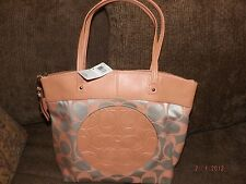 Coach F18335  Laura Signature Tote Bag Light Khaki/Peach Canvas Leather NWT