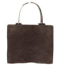 Authentic GUCCI Logos Hand Bag Suede Skin Leather Brown Italy 03P550