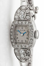 Vintage 1950s $5000 ELGIN 14k White Gold 1.50ct VS G Diamond Ladies Watch WTY