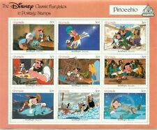 THE DISNEY CLASSIC FAIRYTALES IN POSTAGE STAMPS-GRENADA-PINOCCHIO-9 STAMPS+COA