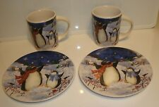 Penquin Family Snow Christmas Dishes Set of 4 Mugs & Plates NEW by Gibson
