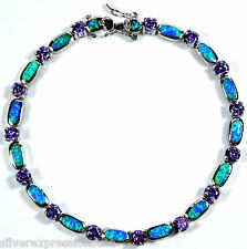 Amethyst & Blue Fire Opal Inlay 925 Sterling Silver Link Tennis Bracelet 7.5''