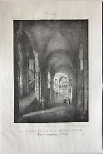 1838 SOUVIGNY Eglise S. Pierre litografia Émile Sagot Allier Desrosiers Moulins