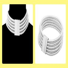 Chunky Silver Plated 5 Layer H&M Balmain Style Coil Choker Statement Necklace