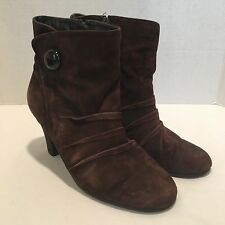 Aerosoles Rolette Brown Suede Dress Boots Ruched Ankle Bootie Women's Size 5.5 M