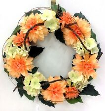 Dahlia~Hydrangea~Twig Wreath. Coral Color, Vine Accent. Artificial. 22""