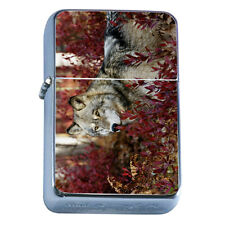 Windproof Refillable Flip Top Oil Lighter Wolf D4 Wilderness Animal Dog Hunter