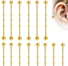 New Gold Plated Bamboo Ridge Scaffold Industrial Piercing Bar Stud 38mm (14g)