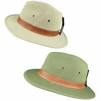 Mens Ladies Fedora 100% Pure Cotton Panama Sun Hat Classic Summer Olive Trilby