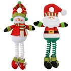 Plush Snowman / Santa With Spring Legs Door Knob Hanger Christmas Decoration New