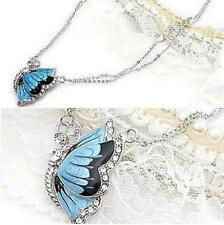 Fashion Crystal Butterfly Statement Chain Jewelry Charm Pendant Necklace+ GAC