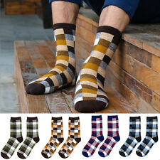 Men's Business Sport Style Argyle Pattern Crew Cotton Dress Socks Multi Color