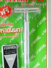 VINTAGE DOUBLE EDGE RAZOR SHAVING SAFETY STAINLESS HANDLE FREE FEATHER BLADE