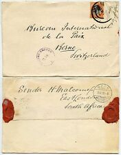 SOUTH AFRICA WW1 3d SINGLE FRANKING CENSORED to SWITZERLAND 1918 + SEALS HM