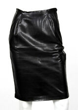SAINT LAURENT Vintage Black Lambskin Leather Pencil Skirt 36