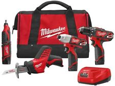 Milwaukee Cordless Combo Kit M12 12-Volt Lithium-Ion Drill Driver Saw (4-Tool)