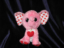 TY Beanie Boos - Tender Pink Heart Elephant (Solid Eye Color) (6 inch) plush
