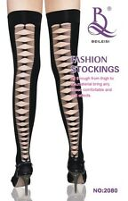 Punk Ripped Silk Thigh High Stockings Cut-out Stay Up Seam Hosiery WHOLESALE
