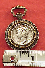 Miniature Silver Mercury Dime Pocket Watch Fob Chain Charm Pendant Drop