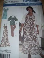 SIMPLICITY #2947 - LADIES FF SUMMER DRESS-TUNIC-SHRUG-PANTS PATTERN  18W-24W uc