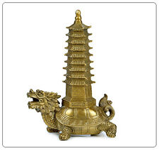 Feng Shui Brass Dragon Turtle Tortoise With 9 Layer Wen Chang Pagoda