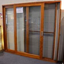 CEDAR SLIDING DOORS WITH FLY SCREEN, SOLID CEDAR TIMBER 2100W X 2100 - L To R