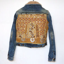 Zara Basics Denim Jacket with Modern Indian embroidered textile size M