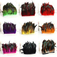 Hackle Feather Fringe 1 -10 Yards Rooster Feather Trim For Craft/Sewing/Costume