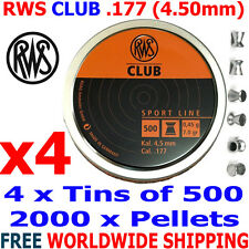 RWS CLUB .177 4.50mm Airgun Pellets 4 (tins)x500pcs (10m PISTOL TRAINING) 0,45g