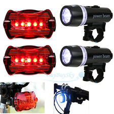 2x Waterproof 5 LED Lamp Bike Bicycle Front Head Light + Rear Safety Flashlight
