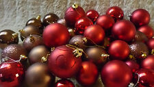 40+ RED BERRY & CHOCOLATE BROWN BAUBLES CHRISTMAS TREE DECORATIONS ASSORTED A