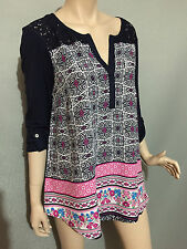 BNWT Womens Sz 24 Autograph Brand Navy/Floral 3/4 Sleeve Boho Tunic Top RRP $60