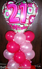 "18"" FOIL BALLOON  TABLE DECORATION DISPLAY HAPPY 21ST BIRTHDAY  HEART"
