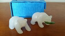 Two Hand Carved White Bears with Jade Fish