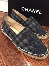 NIB Chanel 15B Grey Black Flannel Plaid CC Double Sole Espadrille Flats Shoes 35