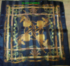 "BLACK  GOLD BORDER POLYESTER SCARF SARONG WRAP Approx 40"" x40"" HEAD HAIR WRAP"
