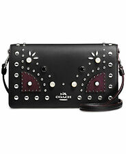 NWT COACH WESTERN RIVETS BLACK FOLDOVER LEATHER CROSSBODY MESSENGER BAG 56529