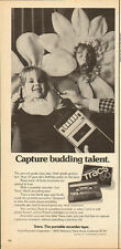 1977 Vintage ad for Tracs~The portable recorder tape~Children Sunflower costume