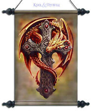 "Anne Stokes Wall Art Scroll: ""Woodland Guardian"" Orange Dragon with Celtic Cross"