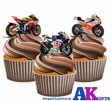 Moto GP Ducati Honda Yamaha Mix 12 EDIBLE CUP CAKE TOPPERS STAND UPS Motorbike
