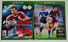 XBox One Video Game Lot - FIFA 16 (New) Pro Evolution Soccer PES 2015 (New)