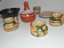 ANTIQUE NATIVE AMERICAN INDIAN MINIATURE POTTERY POTS PAINTED LOT OF SEVEN