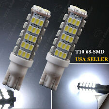 2X T10 68-SMD LED White Super Bright Car Reverse Lights Bulbs - W5W 194 921 168