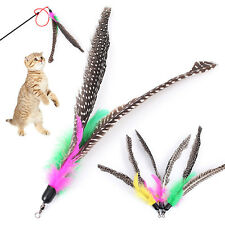 2Pcs Pet Cat Toys Kitten Dangler Rod Wand Replacement Head Teaser Feather Stick