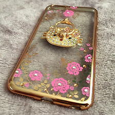 For iPhone 6+ / 6S+ -Gold Diamond Bling Hello Kitty Pink Flowers TPU Rubber Case