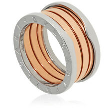 Bvlgari B.Zero1 18K Pink and White Gold 4-Band Ring Size 6.25