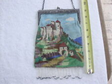 ANTIQUE beaded Large PURSE bag ornate design Very Old Bright Colors CASTLE
