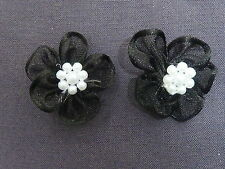 10 BEAUTIFUL BLACK 2.75CM ORGANZA FLOWERS WITH FLORAL PEARL BEADS TO CENTRE B61